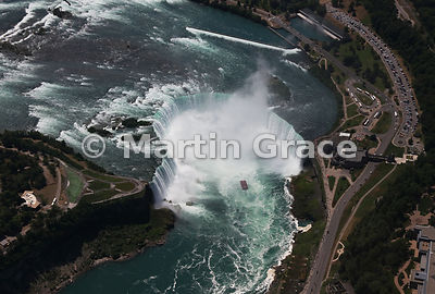 Canadian Horseshoe Falls from the north, from the air, Niagara Falls, Ontario, Canada