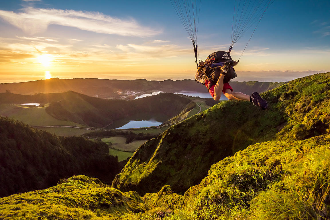 Taking off to Infinity and Beyond with JB Chandelier.(c) www.TristanShu.com..#Acores #Portugal #SaoMiguel #SeteCidades #Parapente #Flying #Volcanoes #Lakes