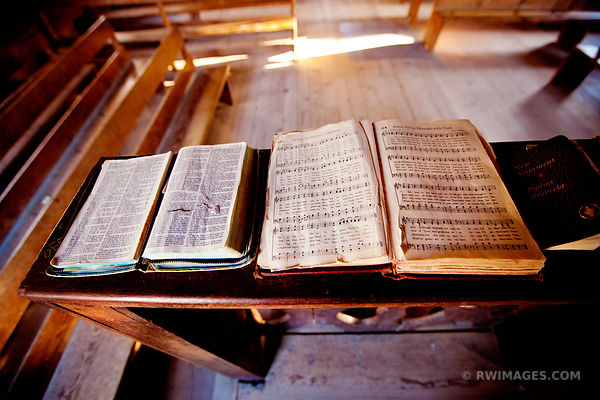 OLD CHURCH BIBLE AND HYMN BOOK CADES COVE SMOKY MOUNTAINS COLOR