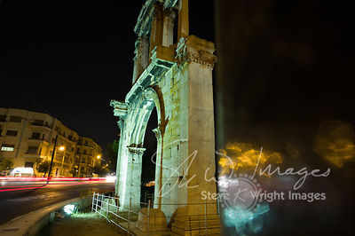 The Arch of Hadrian at night - Athens, Greece