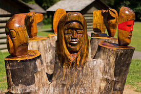 Neat shot of the totems near Blue Hole Springs in Red Clay State Historical Park.  Beautiful image with 3-D feel great for anyone interested in Cherokee history and culture.  Beautiful in a large print.