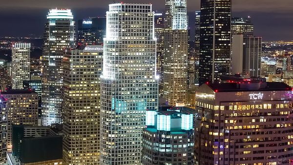 Medium Shot: Twinkling Lights of Downtown L.A.