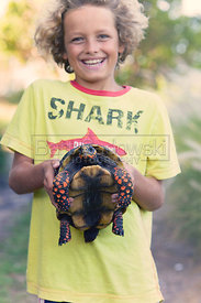 Noah with Turtle