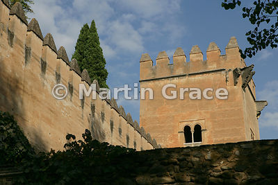 The Spiked Tower in the Alhambra wall from Cuesta de los Chinos, Alhambra, Granada, Spain