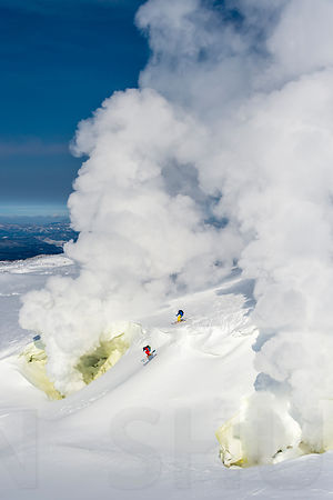 Volcano freeride skiing with Enak Gavaggio and Benjamin Etienne