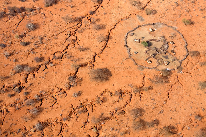 Where water once ran: Aerial of erosion that scars the land near a Samburu manyatta in drought stricken Northern Kenya. August 2009.