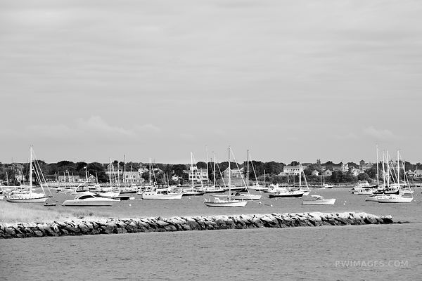 SAILBOATS HYANNIS HARBOR CAPE COD BLACK AND WHITE