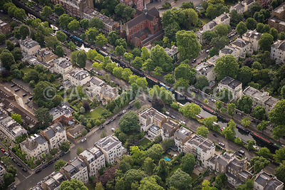 Aerial view of London, residential area, Regents Canal, Maida Vale.
