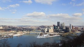 Wide Shot: Clear & Cold Morning Looking Over The Allegheny & Monongahela