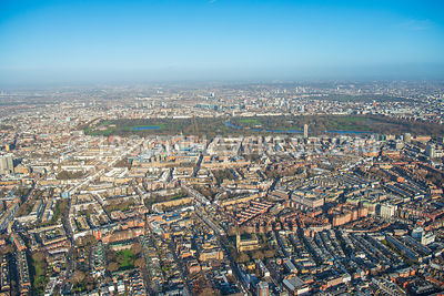 Aerial view of London, Chelsea, Fulham Road towards Brompton and Hyde Park.