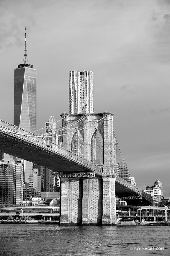Brooklyn bridge new york city new york black and white vertical