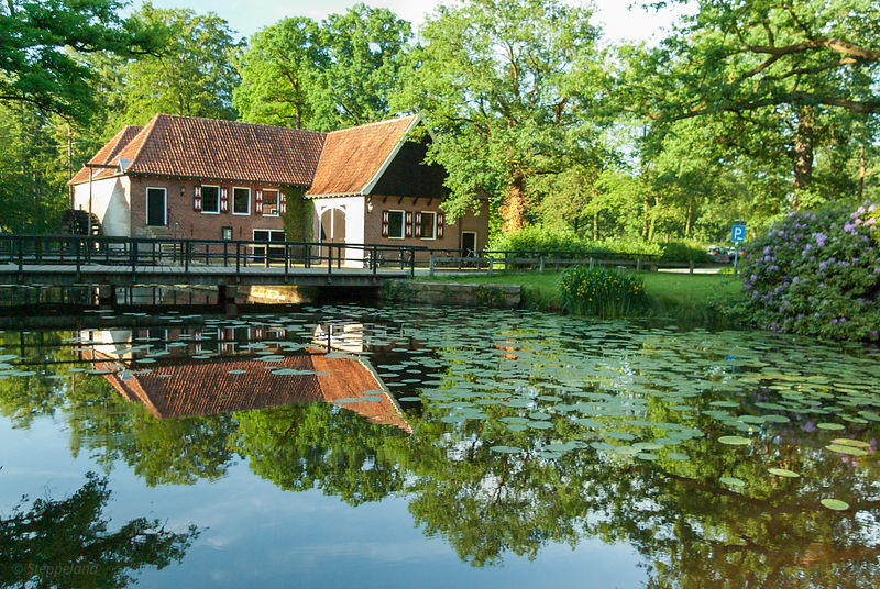 Watermill building near the lake at Singraven Estate