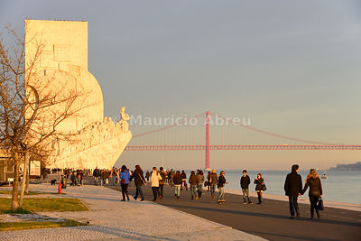 Monument to the Discoveries (Padrão dos Descobrimentos) on a Sunday afternoon. Lisbon, Portugal