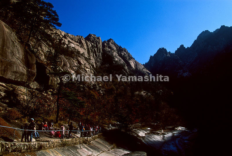 South Korean tourist hiking in the Kumgang area. North Korea.