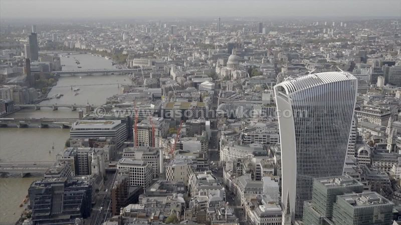 Aerial footage of 20 Fenchurch Street, City of London, London
