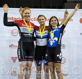 U17 Women Keirin Podium. 2016/2017 Track O-Cup #3/Eastern Track Challenge, Mattamy National Cycling Centre, Milton, On, February 11, 2017