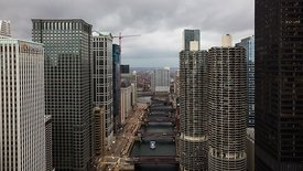 Bird's Eye: A Typical Grey Low Cloud Day Dressed Up With Looking Down The Chicago River & Iconic Marina Towers