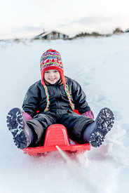 Danish girl sledding