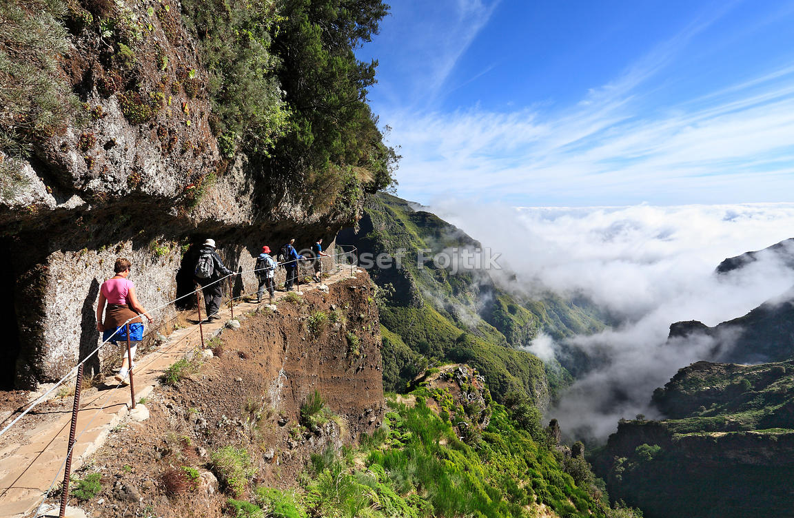 Tourist path in the mountains around Pico do Arieiro, Madeira, Portugal