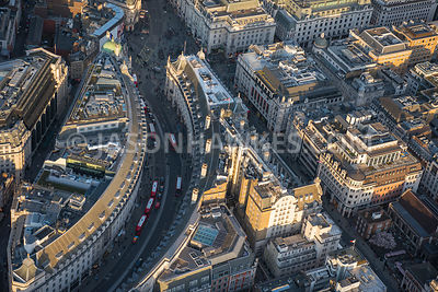 Aerial view of London, Regent Street and Saville Row.