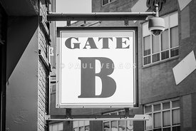 Fenway Park Gate B Sign Black and White Photo