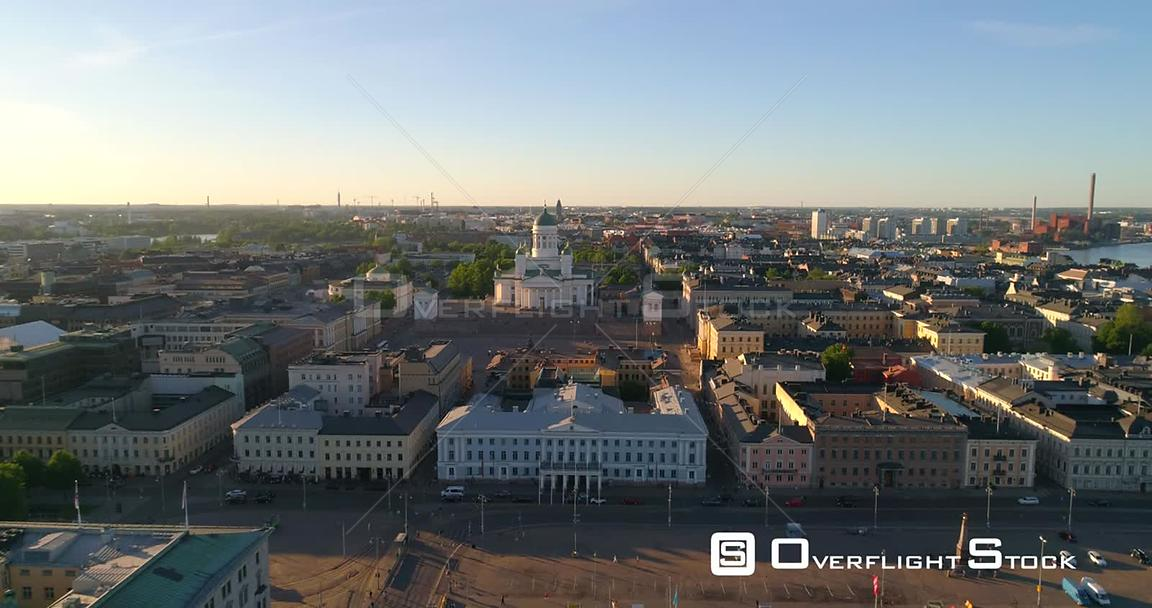 Helsinki Cityscape, Aerial Rising Tilt View of the Helsinki Cathedral and the City, on a Sunny Summer Evening Dusk, in Helsingfors, Uusimaa, Finland