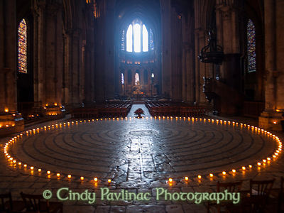 Windows and Candlelit Chartres Cathedral Labyrinth