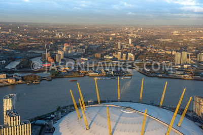 Aerial view of London, Greenwich Peninsula with Leamouth Peninsula.