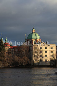 Monastery of the Knights of the Cross with a Red Star and Dome of the Church of Saint Francis Seraph on the Aleš Embankment on the Vltava River, Prague, Czech Republic, Europe
