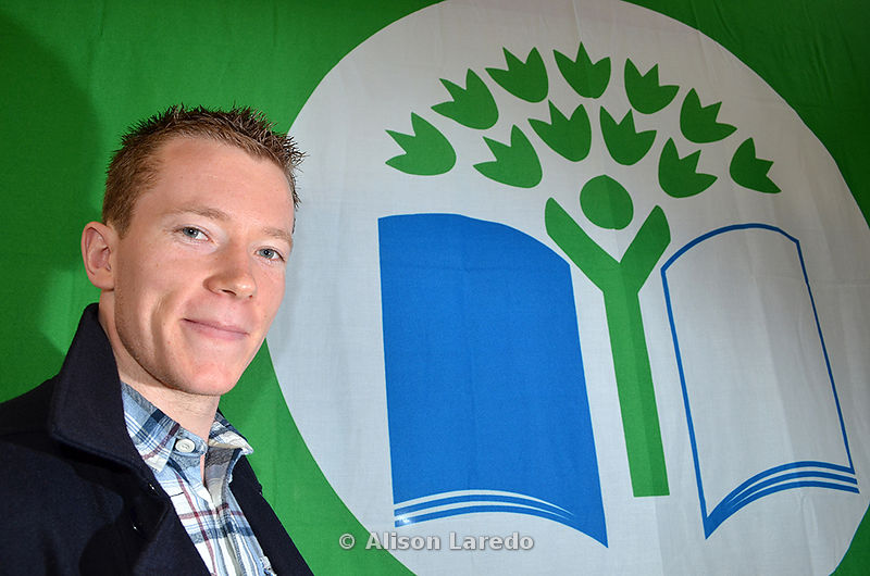 Donal Vaughan raises Green Flag at Ballinrobe National School. Photo: Alison Laredo