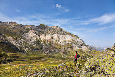 Hiker in the Circus of Troumouse - Pyrenees Mountains