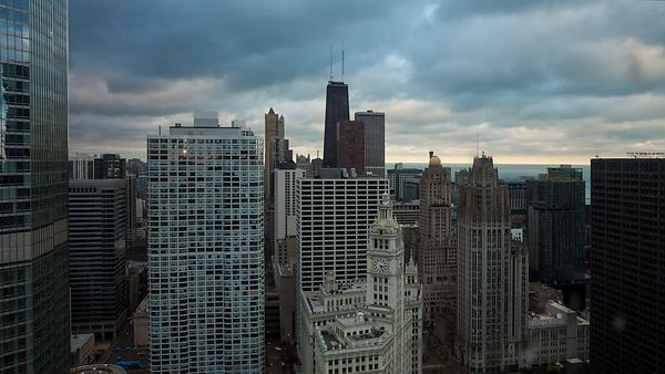 Bird's Eye: Dramatic Low Cloud Deck & Sunset Over Chicago Mid-Rises