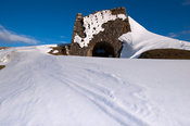 Traditional Lime kiln surrounded by snowdrifts after snowstorm. Cumbria, UK.