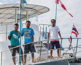 Asst Race Officers, start boat Alpha. Phuket King's Cup 2016.