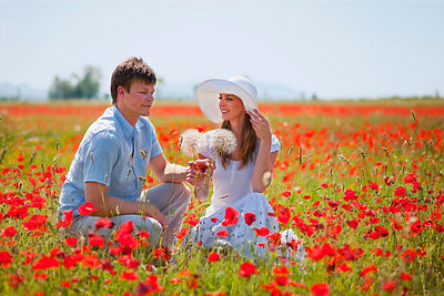 Couple sitting in field of poppies