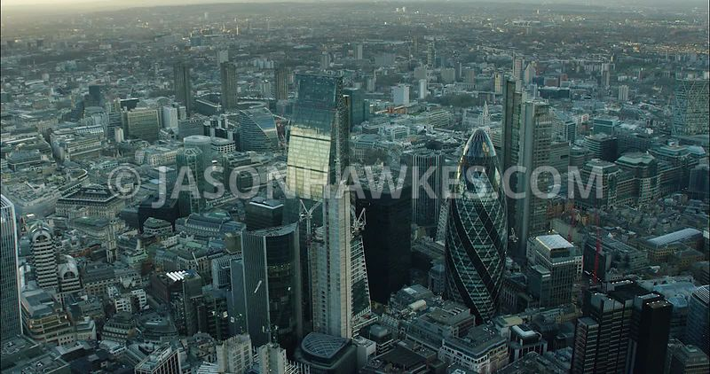 London Aerial Footage of City of London with 30 St Mary's Axe and Leadenhall Building