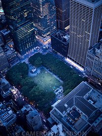 Aerial photograph of Bryant Park in New York City.