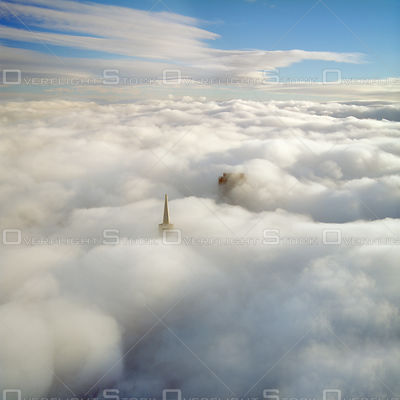 Dowtown San Francisco Skyline with Transamerica Pyramid in Heavy Fog. California.