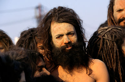 India - Allahbad - ash smeared naked saddhus gather to bathe at the Ardh Kumbh Mela 1995, Allahbad, India