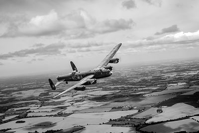 Lancaster PA474 over England BW version