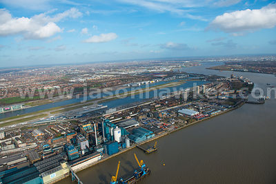 Aerial vie wof Silvertown and North Woolwich, London
