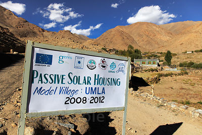 Sign for a passive solar housing model village in the largely abandoned and deserted village of Umlad, Ladakh, India