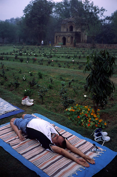 India - Delhi - A man practices yoga in Lodhi Gardens at dawn
