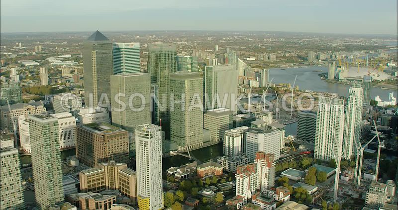 London Aerial Footage of Docklands with The O2.