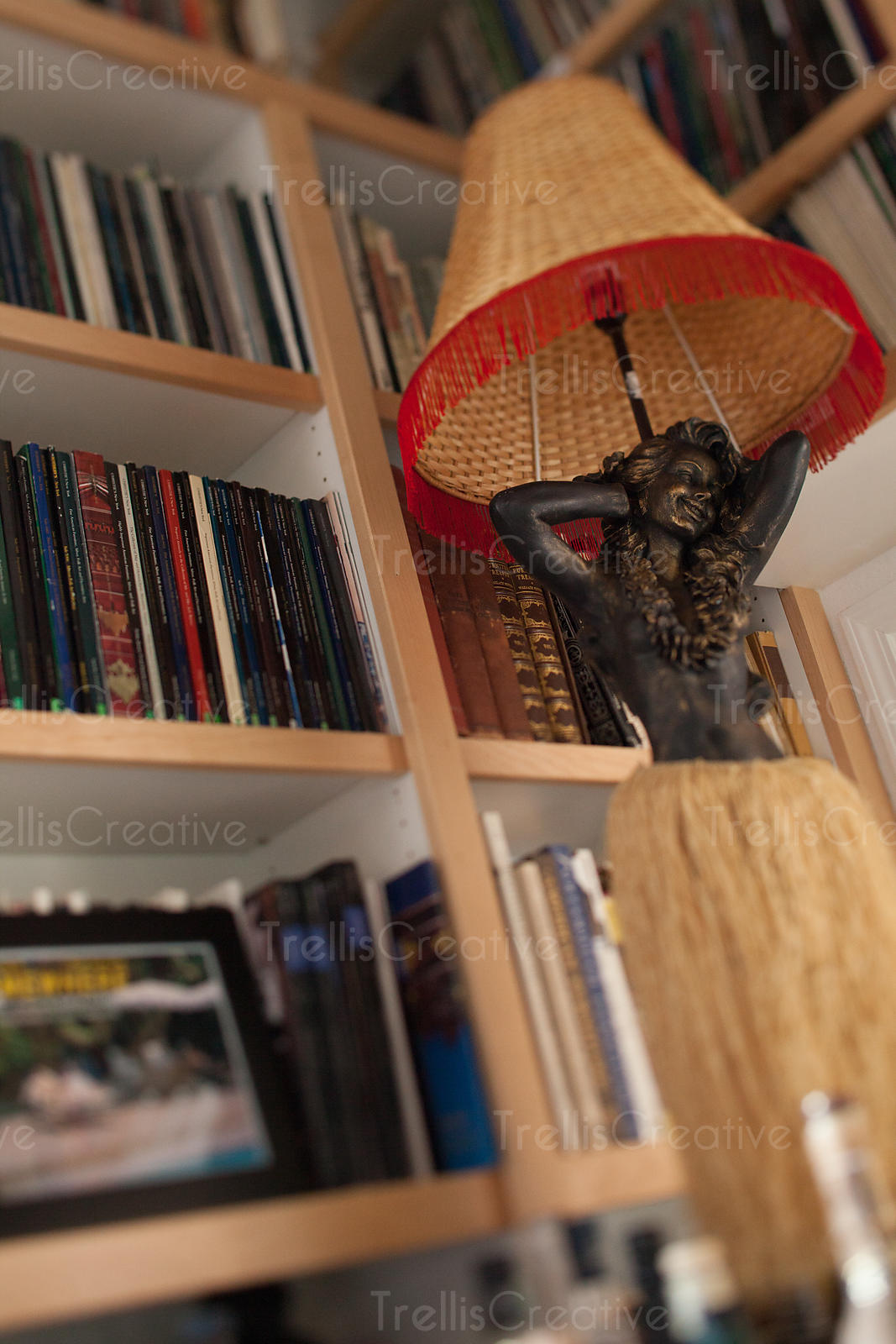 Close-up of hula dancer lamp in front of bookshelf