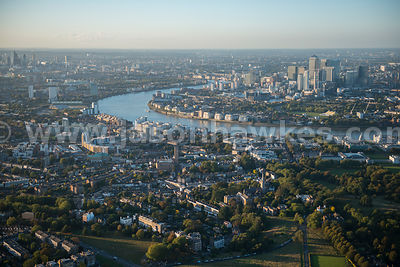 Aerial view of Greenwich and Deptford, London
