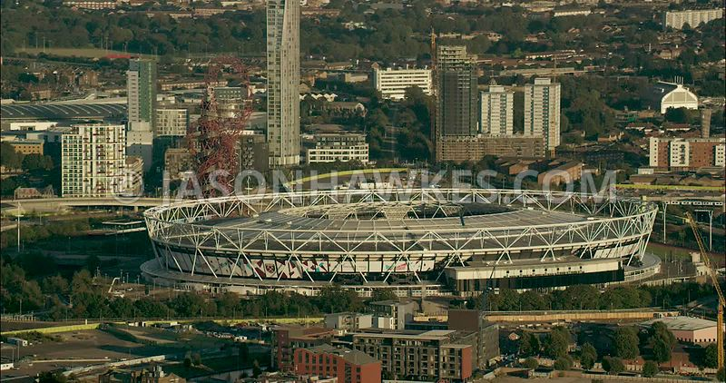London Aerial Footage of Olympic Stadium
