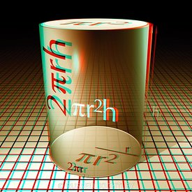 Anaglyph of a cylinder with equations for area and volume