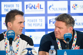 Raul Gonzales and Sergey Bebeshko at the opening press conference  during the Final Tournament - Final Four - SEHA - Gazprom league, Skopje, 12.04.2018, Mandatory Credit ©SEHA/ Sasa Pahic Szabo