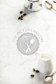 Coffee composition on white marble background. Food frame concept